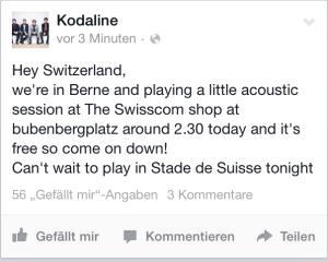 Facebook-Post von Kodaline