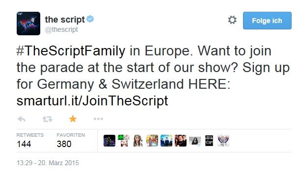 The Script Parade Tweet